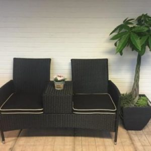 Loveseat zwart wicker